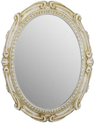 Зеркало с белой рамой с золотой патиной