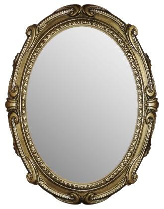 Зеркало с золотистой рамой с патинированием